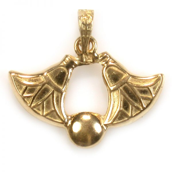 18K Gold 2 Lotus w/ a ball Pendent