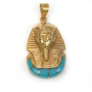 18K Gold Egyptian King Tut with stone pendant