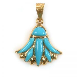 18K Gold Lotus with colored stone