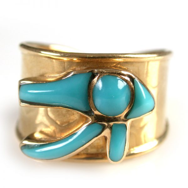 Turquoise Eye of Horus 18K Gold Ring