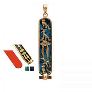 18K gold changeable colored stones background cartouche