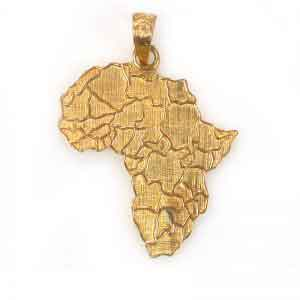18K Gold Africa Map Pendant