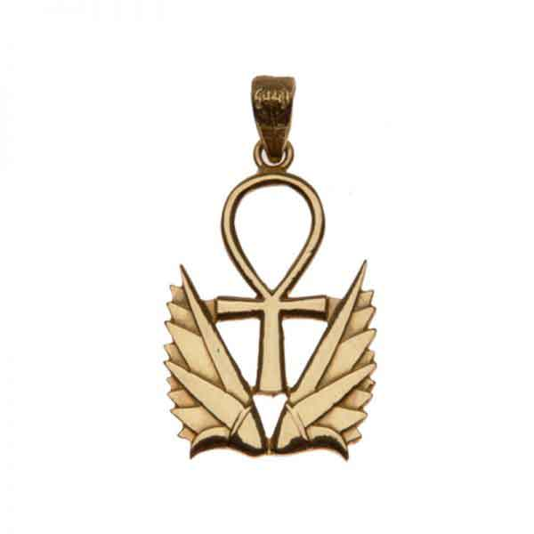 18K Gold Key of like with Two Lotus Pendant
