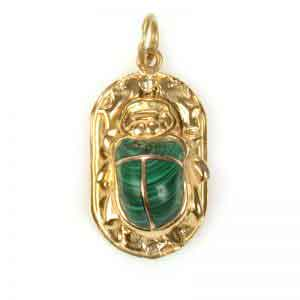 18K Gold Scarab with stone Pendant