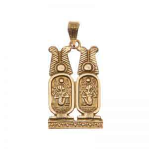 18K Gold Two Cartouche Pendant - Ancient Egyptian Jewelry