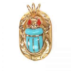 18K Gold royal scarab Jewelry pendant