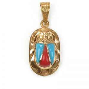 Egyptian Jewelry 18K Gold Scarab with precious stones