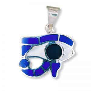 Egyptian Silver Eye of Horus with Colored stones