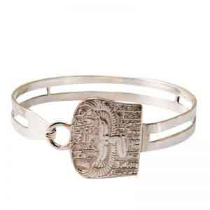 Egyptian Silver Winged Isis Bangle Bracelet