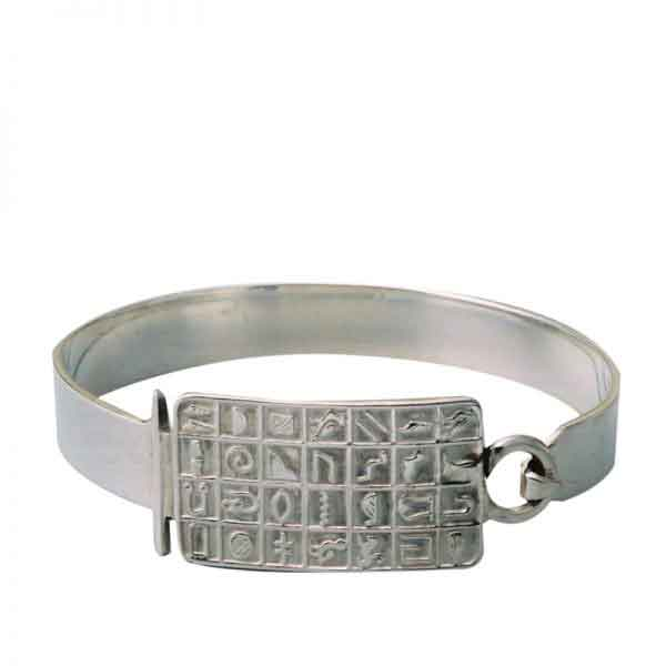 Hieroglyphics Silver Bangle