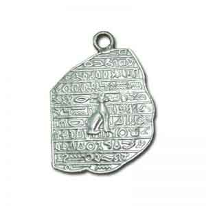 Rosetta Stone with Cat Silver Pendant