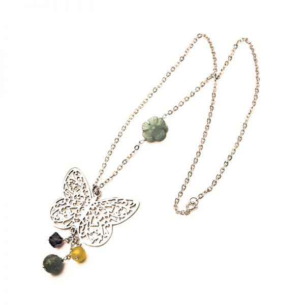 Butterfly silver necklace with semi-precious colored stones