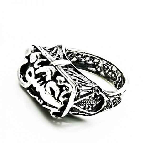 Egyptian sterling silver ring spelling 'Passion' on it.