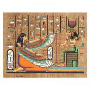 Goddesses Ma'at and Hathor papyrus