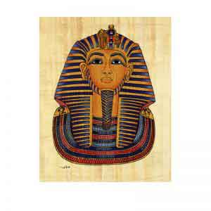 Mask of Tutankhamun papyrus painting