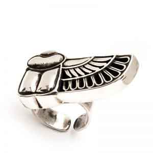 925 sterling silver winged Scarab ring
