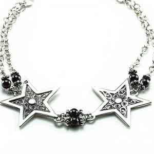 Silver stars bracelet with Garnet stones
