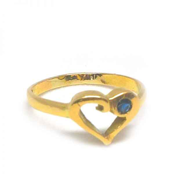 18K gold Heart ring with blue topaz stone