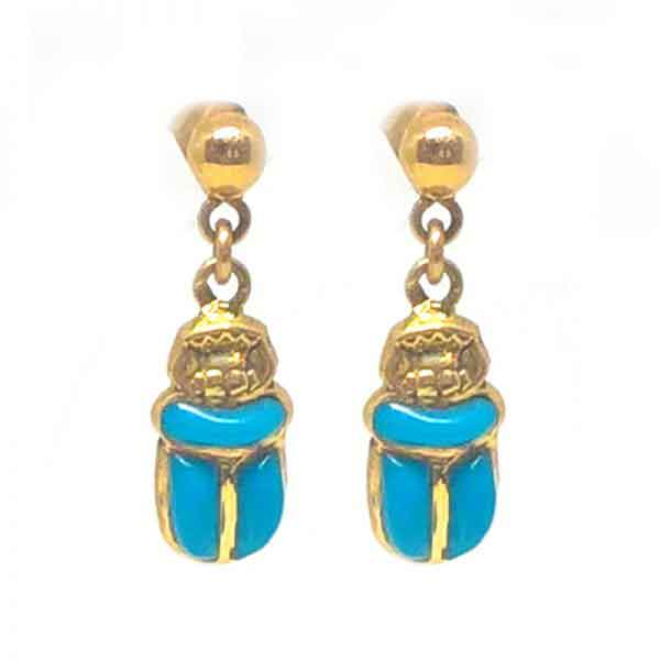 18K gold Scarab Earrings with stone