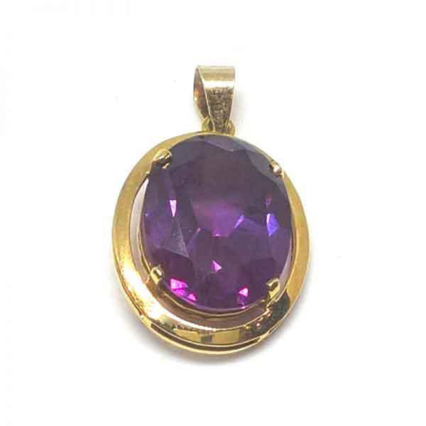 Alexandrite gemstone 18K gold pendant