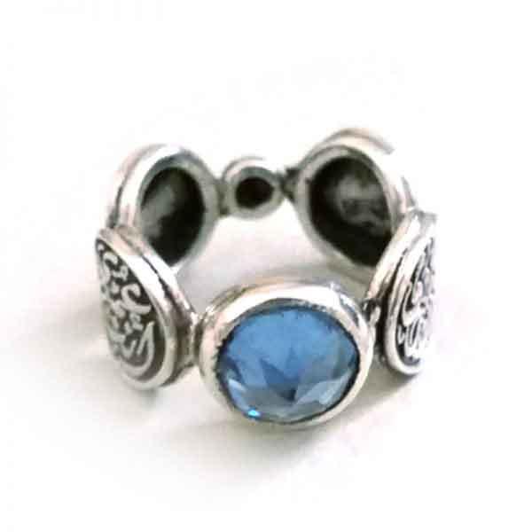 Aquamarine circles ring