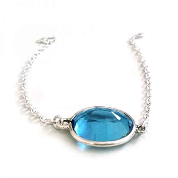 Aquamarine silver bracelet