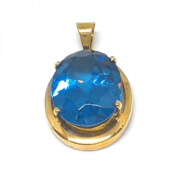 Blue topaz gemstone 18K gold pendant