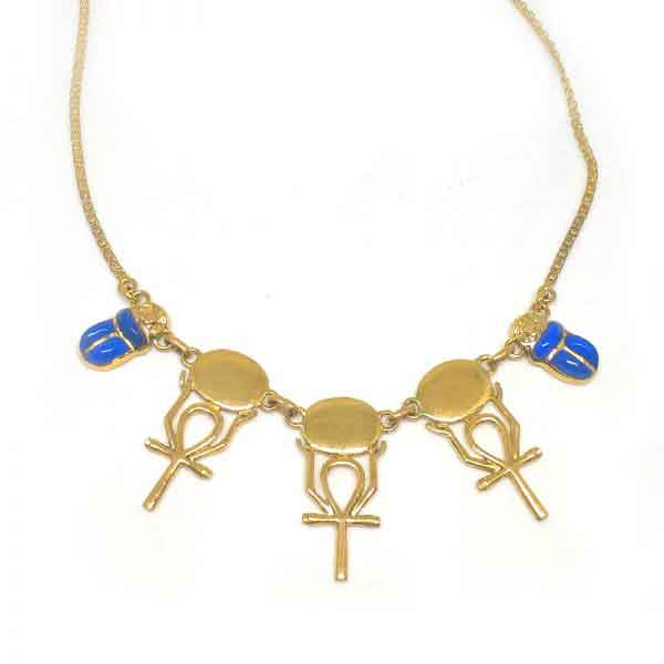Keu of life and scarab 18K gold necklace