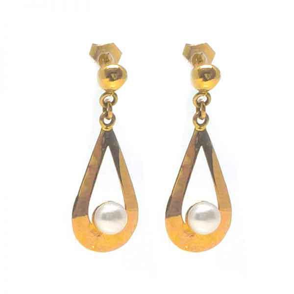 Pearl in a teardrop 18K gold earrings