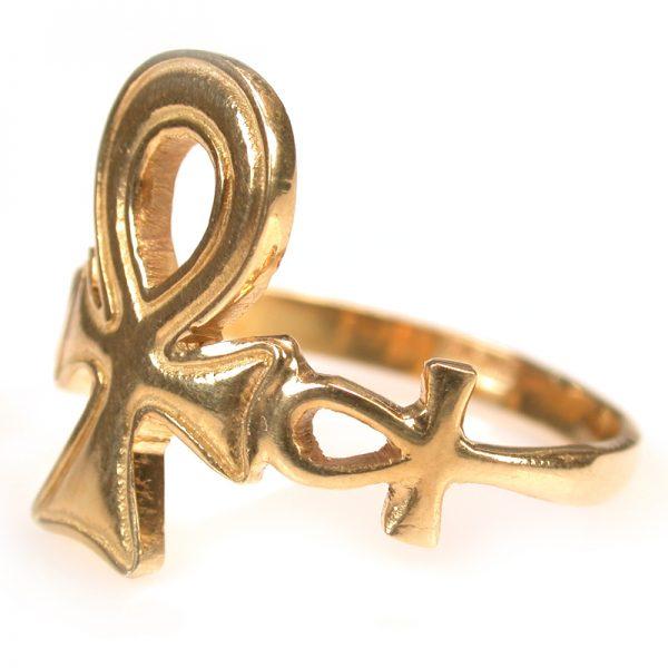 Key of life - 18K gold Ankh ring jewelry