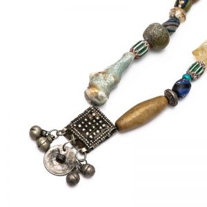 Old silver necklace with different gemstones