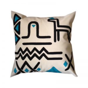 Contemporary Egyptian Khayameya ( Appliqué )Throw Pillow Cover in black and turquoise on Natural Colour