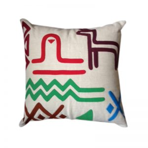 Multi colour Contemporary Egyptian Appliqué Throw Pillow Cover, inspired by traditional Nubian Motifs