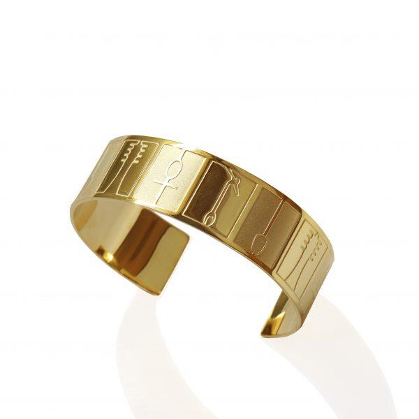 Ankh (hieroglyphs) bracelet (mix matt_shiny 18k gold finish)_