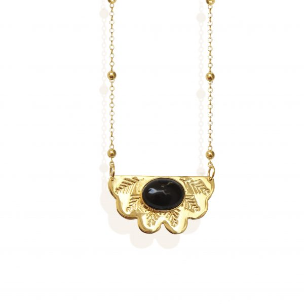 Egyptian fan necklace with agate stone (18k gold plated finish)