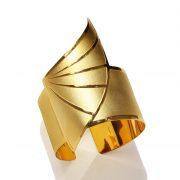 Horus wing bracelet (mix matt _shiny 18k gold plated finish)_