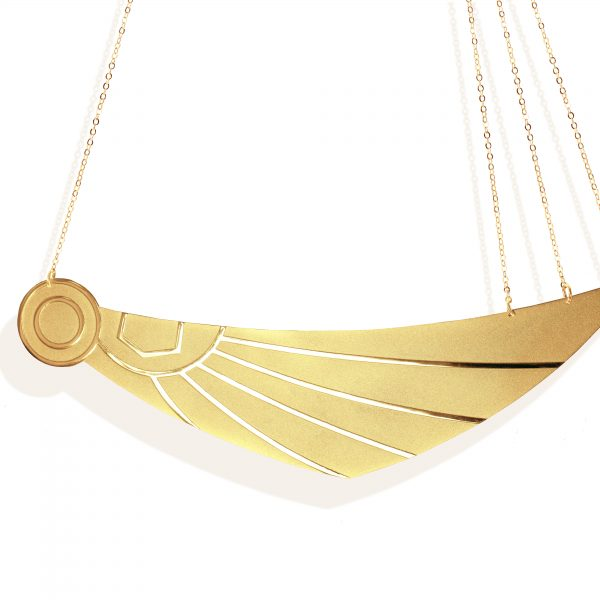 Horus wing necklace (mix matt _ shiny 18k gold plated finish )