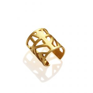 Lotus knuckle ring (18k gold plated finish)