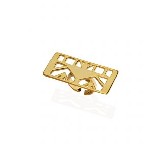 Lotus (rectangle) ring (18k gold plated finish)