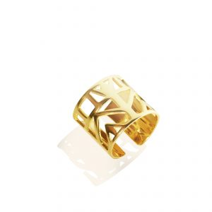Lotus ring (18k gold plated finish)