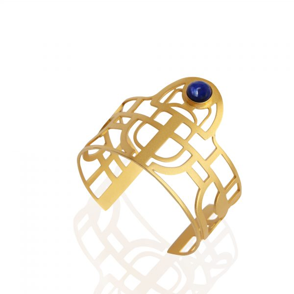 Scarab Bracelet with lapis lazuli stone (matt 18k gold plated finish)